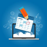 Mark circle your calendar agenda online cloud planning laptop