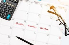 Mark długi wakacje na kalendarzu Zdjęcie Royalty Free