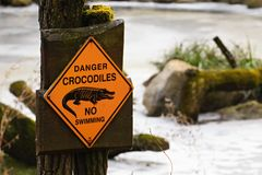 Mark danger crocodiles Royalty Free Stock Photography