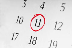 Mark the date number 11. Focus point on the red marked number Stock Photos
