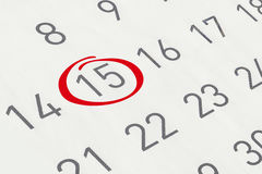 Mark the date number 15 Royalty Free Stock Photos
