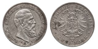 Mark deux 1888 prussien de la pièce en argent 2 de la Prusse allemande de l'Allemagne photo stock