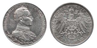 Mark deux 1913 prussien de la pièce en argent 2 de la Prusse allemande de l'Allemagne photo libre de droits