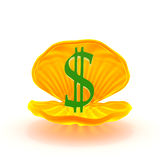 Mark of dollar inside mussel. Green mark of dollar inside the  yellow mussel Stock Photo