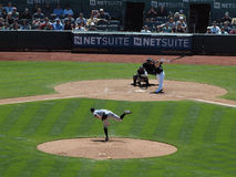 Mark Ellis connects with pitch from Casey Janssen Stock Images