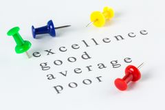 Mark on excellence. Push pin mark on excellence of audit checklist Stock Photos