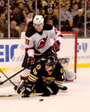 Mark Fayne knocks down Nathan Horton (NHL) Stock Photo