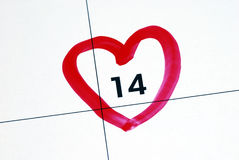 Mark February 14th (Valentine�s Day) Stock Photos