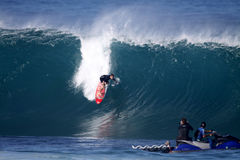 Mark Healey at Backdoor Shootout. On January 5, 2011, Mark Healey competes in Da Hui's Backdoor Shootout at Pipeline. This is a very prestigious event with a Royalty Free Stock Images