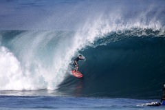 Mark Healey at Backdoor Shootout. On January 5, 2011, Mark Healey competes in Da Hui's Backdoor Shootout at Pipeline. This is a very prestigious event with a Stock Photography