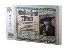 5000 Mark - Historical banknote. 5000 Mark. Historical note at the beginning of the 20th century. Notes of Germany. Banknote on a white background stock photos