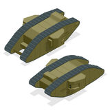 Mark I British heavy tank during the First World War The founder of the family of British diamond-shaped tanks Isometric. Vector war transport Armoured fighting stock illustration