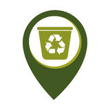 Mark icon with recycling container Stock Photography