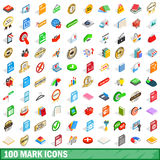 100 mark icons set, isometric 3d style Stock Image