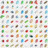 100 mark icons set, isometric 3d style Royalty Free Stock Photography