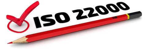 The mark ISO 22000. (ISO 22000 is a standard developed by the International Organization for Standardization dealing with food safety). Red pencil and mark on Stock Image