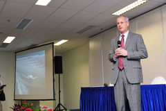 Mark Jenks, Vice President of Boeing 787 development program speaking at press conference at Singapore Airshow 2012 Stock Photography