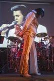 Mark Leen AKA ο σμαραγδένιος Elvis αποδίδει στην ορχήστρα ποικίλων οργάνων εμφανίζει Στοκ Φωτογραφίες