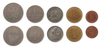 Mark-Münzen getrennt auf Weiß Stockbild