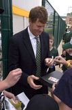 Mark Murphy, CEO of the Green Bay Packers. Signs autographs for Packer fans. The Packers play at Lambeau Field stock photography