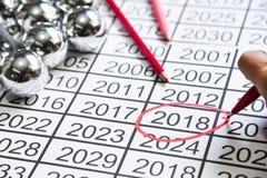 Mark na liczbie nowy rok przy 2018 Zdjęcia Royalty Free