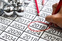 Mark na liczbie nowy rok przy 2018 Zdjęcia Stock