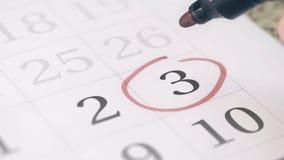 Mark na trzeci 3 dniu miesiąc w kalendarzu, w górę zbiory wideo