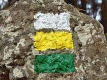Mark nas listras entre se em branco, amarelo, verde imagem de stock