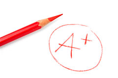 Mark A+ with red pencil Royalty Free Stock Images