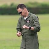 Mark Rijkse, Aerostars YAK52 pilot, rehearsing aerobatic display. Biggleswade, UK - 29 June 2014: Pilot Mark Rijkse performs a ground walk through of the Royalty Free Stock Images