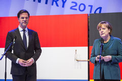 Mark Rutte and Angela Merkel opening Hanover Messe Royalty Free Stock Images