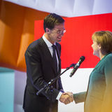 Mark Rutte and Angela Merkel opening Hanover Messe Stock Photo