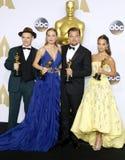Mark Rylance, Alicia Vikander, Brie Larson and Leonardo DiCaprio Stock Photos