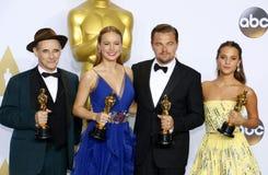 Mark Rylance, Alicia Vikander, Brie Larson and Leonardo DiCaprio Stock Image
