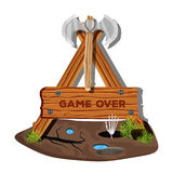 Mark's colorful menu interface on a wooden sign in the grass for mobile games and applications. The game is over. Vector vector illustration