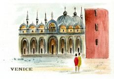 Mark`s Square in Venice. Watercolor painting of St. Mark`s Square in Venice. Italy. City sketch Stock Image