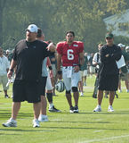 Mark sanchez and coaches. New york jets quarterback mark sanchez at training camp in cortland,ny. photo taken august 4th,2010 Stock Photos