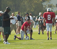 Mark sanchez and mark brunell. New york jets quarterbacks mark sanchez and mark brunell at training camp in cortland,ny. photo taken august 4th,2010 Royalty Free Stock Photography