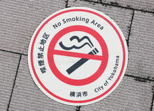 Mark of smoking prohibited area stuck on the ground of Japan Royalty Free Stock Photography