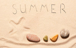 Mark of starfish, sea stones, summer lettering drawn on sand Stock Images
