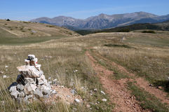 Mark on the top of Monte Moricone. On the top of Monte Moricone in National Park Monti Sibillini Italy Stock Photos