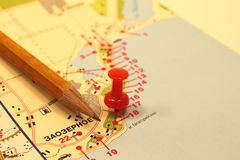 The mark on the tourist map Stock Photography