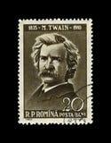 Mark Twain, escritor famoso das aventuras, Romênia, cerca de 1960, fotos de stock