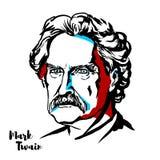Mark Twain Portrait stock illustration