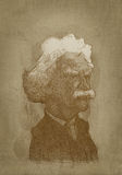 Mark Twain sepia portrait engraving style. For editorial use