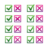 Mark X and V in check box. Dark gradient color green hooks, red crosses. Yes No icons in frame for websites or Stock Photos