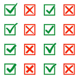 Mark X and V in check box. Green hooks, red crosses. Yes No icons for websites or applications, highlight selection Royalty Free Stock Image