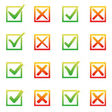 Mark X and V in check box. Sunny gradient color green hooks, red crosses. Yes No icons in frame for websites or Royalty Free Stock Images