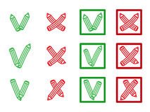 Mark X and V in form of pencils. Green hooks, tick, red crosses. Yes No Right Wrong icons for websites, applications Royalty Free Stock Photos