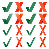 Mark X and V. Green hooks, red crosses. Yes, No Stock Images